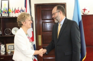 Secretary-General Ambassador Irwin LaRocque welcomes UK High Commissioner Ms Janet Douglas