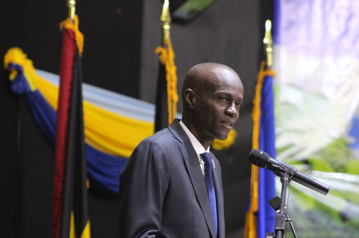 President Jovenel Moise of Haiti delivers his inaugural address at the Thirty Eighth Regular Meeting of the CARICOM Conference of Heads of Government on Tuesday in Grenada