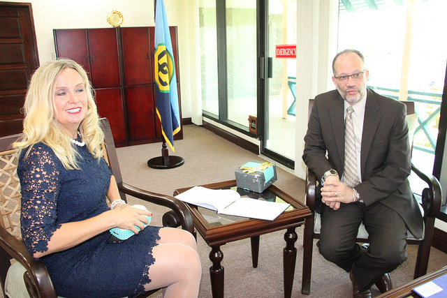 Her Excellency Elisabeth Eklund and CARICOM Secretary-General, Ambassador Irwin LaRocque, during the accreditation ceremony on Wednesday