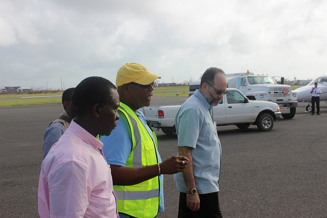 Chief Minister of Anguilla, Mr Victor Banks (Middle); updates CARICOM Chairman, Prime Minister of Grenada, Dr the Hon. Keith Mitchell (L); CARICOM Secretary-General, Ambassador Irwin LaRocque (R) during their tour of the damage on Wednesday 13 Septem