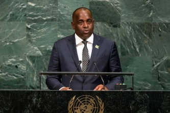 Dominica Prime Minister Roosevelt Skerrit addresses the UN General Assembly