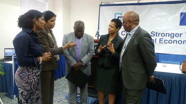 (From left) Barbados Labour Minister Dr. Esther Byer Suckoo; CARICOM Deputy Secretary-General Ambassador Manorma Soeknandan; Barbados Ambassador to CARICOM Robert Morris; Ms Gladys Young, CARICOM Secretariat; EU Representative Stephen Boyce