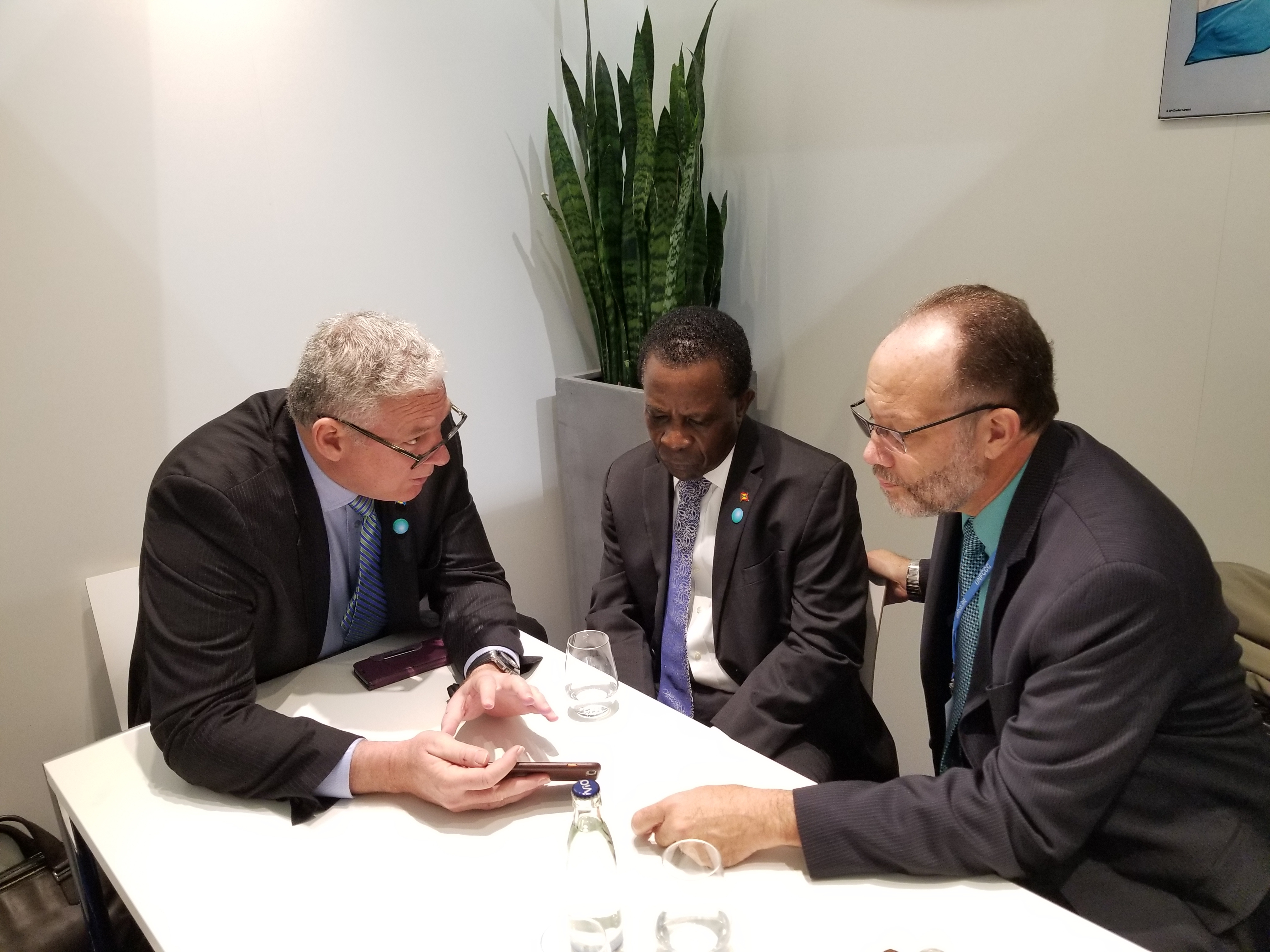 L-r: Hon. A. Chastanet, Prime Minister of  Saint Lucia;Hon. K. Mitchell, CARICOM Chair and Prime Minister of Grenada; Amb. I. LaRocque, CARICOM Secretary General