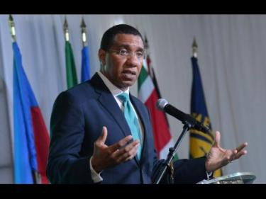 Prime Minister Holness speaking at the IMF Forum yesterday