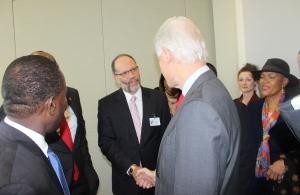 CARICOM SG Amb. Irwin LaRocque greets former US President Bill Clinton