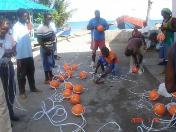 [Fishermen assemble Fish Aggregating Devices (FADs) in Grenada]