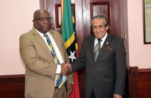 St. Kitts Nevis Prime Minister Dr. Timothy Harris welcomes Qatari Ambassador to  St. Kitts and Nevis Khamis Al-Sahouti