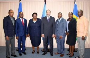 CARICOM Solidarity (l-r) – St. Kitts-Nevis Ambassador Mr. Lionel Sydney Osborne; Haiti's Ambassador Mr Peterson Noel; new Barbados Ambassador Ms Veronica Griffith; CARICOM Secretary-General Ambassador Irwin LaRocque; new St. Vincent and t