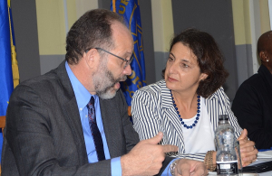 L-r Secretary-General LaRocque  converses with Head of EU Delegation, Ambassador Daniela Tramacere during the launch