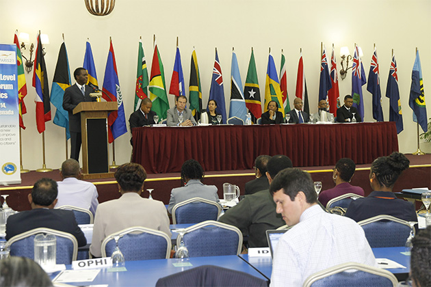 Dr. the Right Honourable Keith Mitchell, Prime Minister of Grenada, delivers the keynote address at the opening ceremony of the Second High Level Advocacy Forum on Statistics held in Grenada on 26 May, 2014.