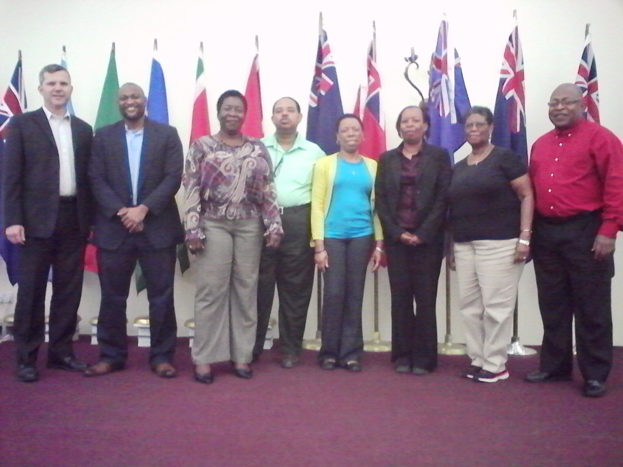 The first Board of Directors of the Caribbean Association of Professional Statisticians (CAPS): From left are, International Representative, Mr. Eric Rancourt, Director, International Cooperation Division, Statistics Canada; Vice President, Mr. Statc