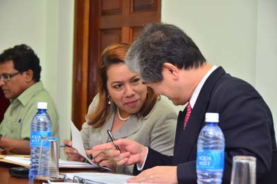 Minister of Foreign Affairs, Carolyn Rodrigues- Birkett with Counsellor of the WTO Trade Policies Review Division, Masahiro Hayafuji