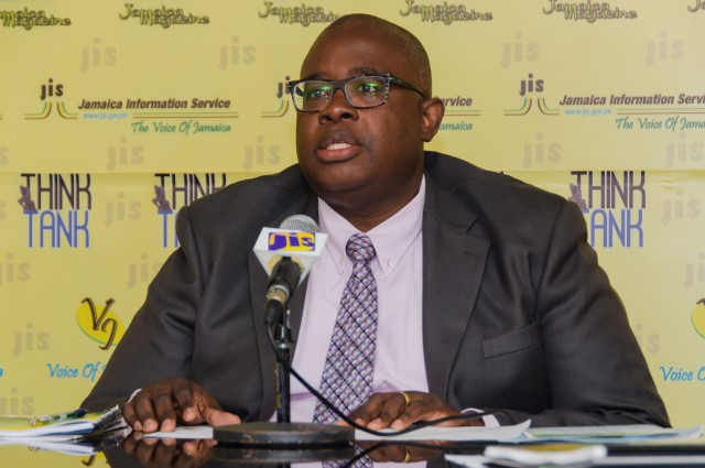 Executive Director of the Jamaica Anti-Doping Commission (JADCO), Carey Brown, addresses a JIS Think Tank today (January 30), at the JIS head office in Kingston.
