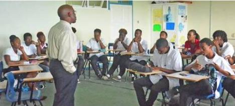 Christopher Roberts, Coordinator, CARCIP Saint Lucia, with students from Sir Arthur Lewis Community College last week