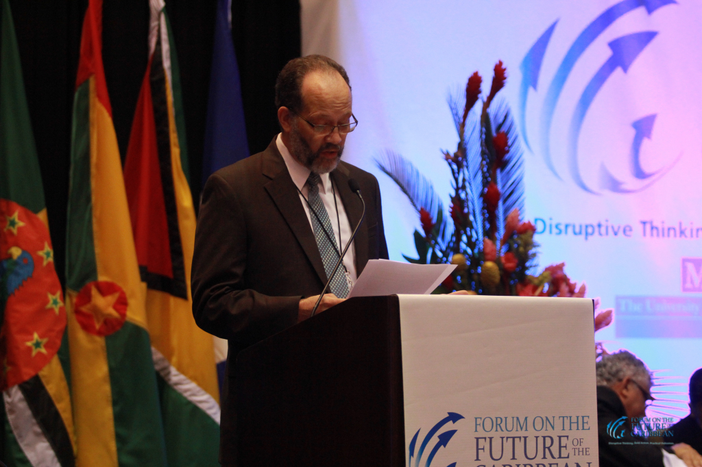 CARICOM Secretary-General Ambassador Irwin LaRocque addresses the Forum on the Future of the Caribbean in Trinidad and Tobago