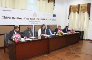 L-R Nand Bardouille, Trade Information Specialist Economic Partnership Agreement (EPA) Implementation Unit | CARIFORUM Directorate of the   Caribbean Community (CARICOM) Secretariat, Pervical Marie  Director-General, CARIFORUM,  Mrs. Cecilia Malmstr&