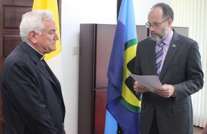 Envoy of the Apostolic Nunciature – Holy See-Vatican to the Caribbean Community (CARICOM) H.E. Archbishop Nicola Girasoli presented Credentials to CARICOM Secretary General, Ambassador Irwin LaRocque.