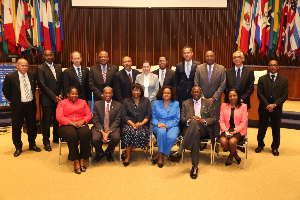 Assistant Secretary General, Human and Social Development at the CARICOM Secretariat Dr. Douglas Slater (seated, second from left) with Health Ministers
