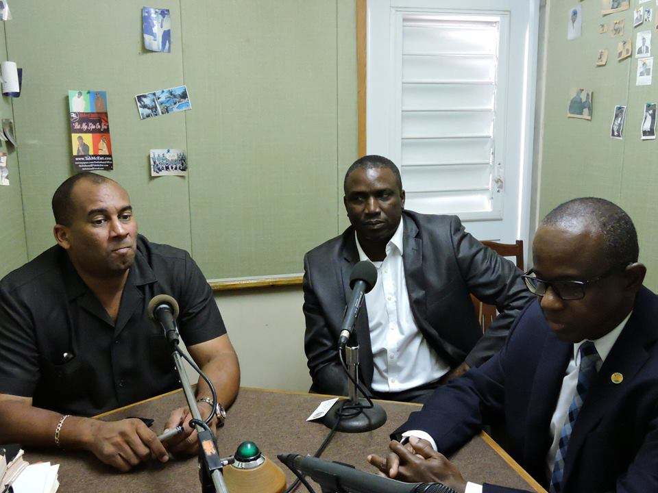 Montserrat's Premier Hon. Romeo, Hon. David Osborne (centre) joined by, Hon. Richard Sealy, Minister of Tourism International Transport, Barbados and Chairman of the CTO, (left) and Mr. Hugh Riley, Secretary General ,CTO