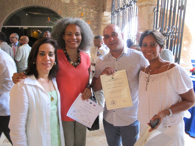 Participants Orfila Rodriguez and Leidi Jorge; and teachers Yaniel Rodriguez and Maite Dumenigo.