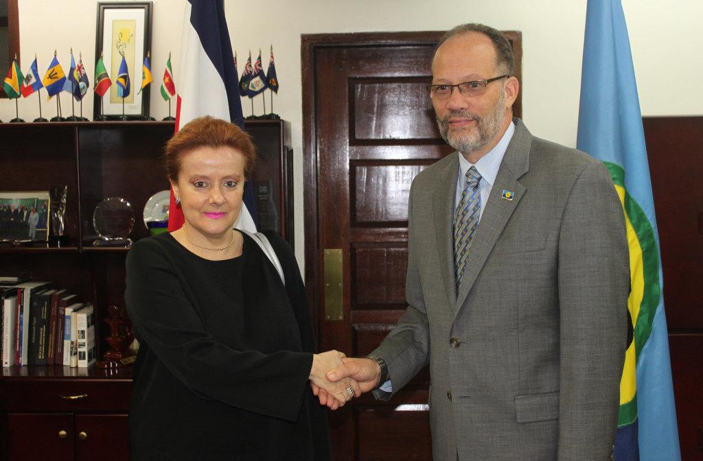 CARICOM Secretary-General, Ambassador Irwin LaRocque greets Costa Rica's first Ambassador to CARICOM Ms Lydia Peralta