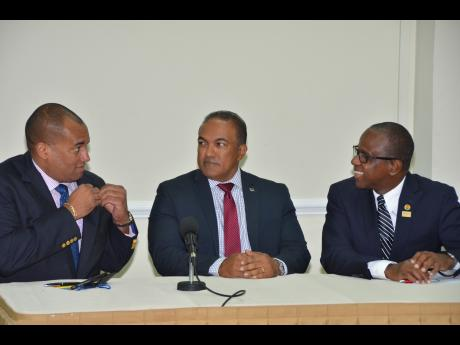 From left: Chairman of the Caribbean Tourism Organization (CTO), Richard Sealy; Curacao Minister of Economic Development, Stanley Palm and Executive Director of the CTO, Hugh Riley addressing media at a press conference at the SOTIC2015 at the World