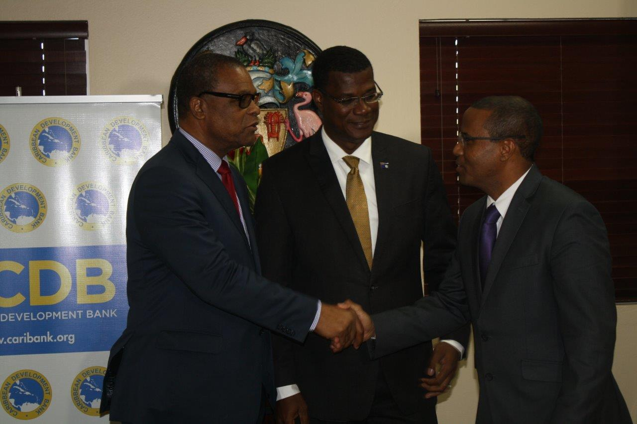 The Honourable Washington Misick, Minister of Finance of Turks and Caicos Islands; Dr. the Honourable Rufus Ewing, Premier of TCI and Dr Justin Ram, Director of Economics at the CDB following the press briefing on the Country Strategy Paper developed