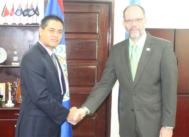 CARICOM Secretary-General Ambassador Irwin LaRocque (right) welcomes new Belize Ambassador to CARICOM H.E. Daniel Gutierez.