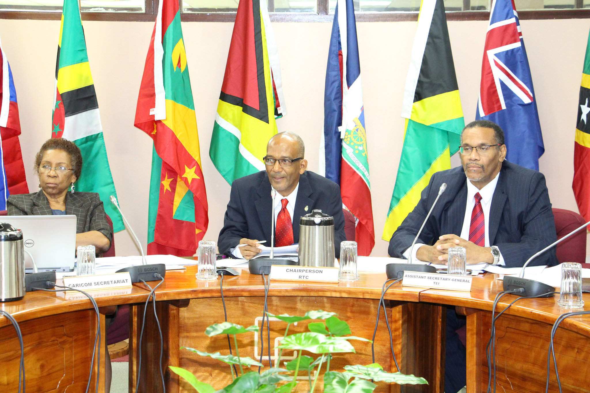 From left, Ms. Desiree Field-Ridley, Adviser, Single Market and Sectoral Programmes, CARICOM Secretariat, Mr. Godfred Pompey, Permanent Secretary, Ministry of National Security, Air and Seaport Development, St. Vincent and the Grenadines and Chair of
