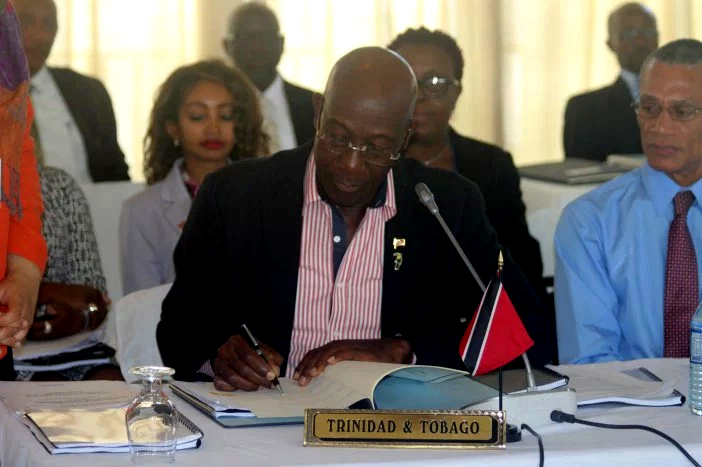 Prime Minister of Trinidad and Tobago Dr. Keith Rowley who has lead responsibility for Security in the CARICOM Heads of Government quasi-Cabinet is the first to sign a protocol amending the Revised Treaty of Chaguaramas to formally establish the Coun