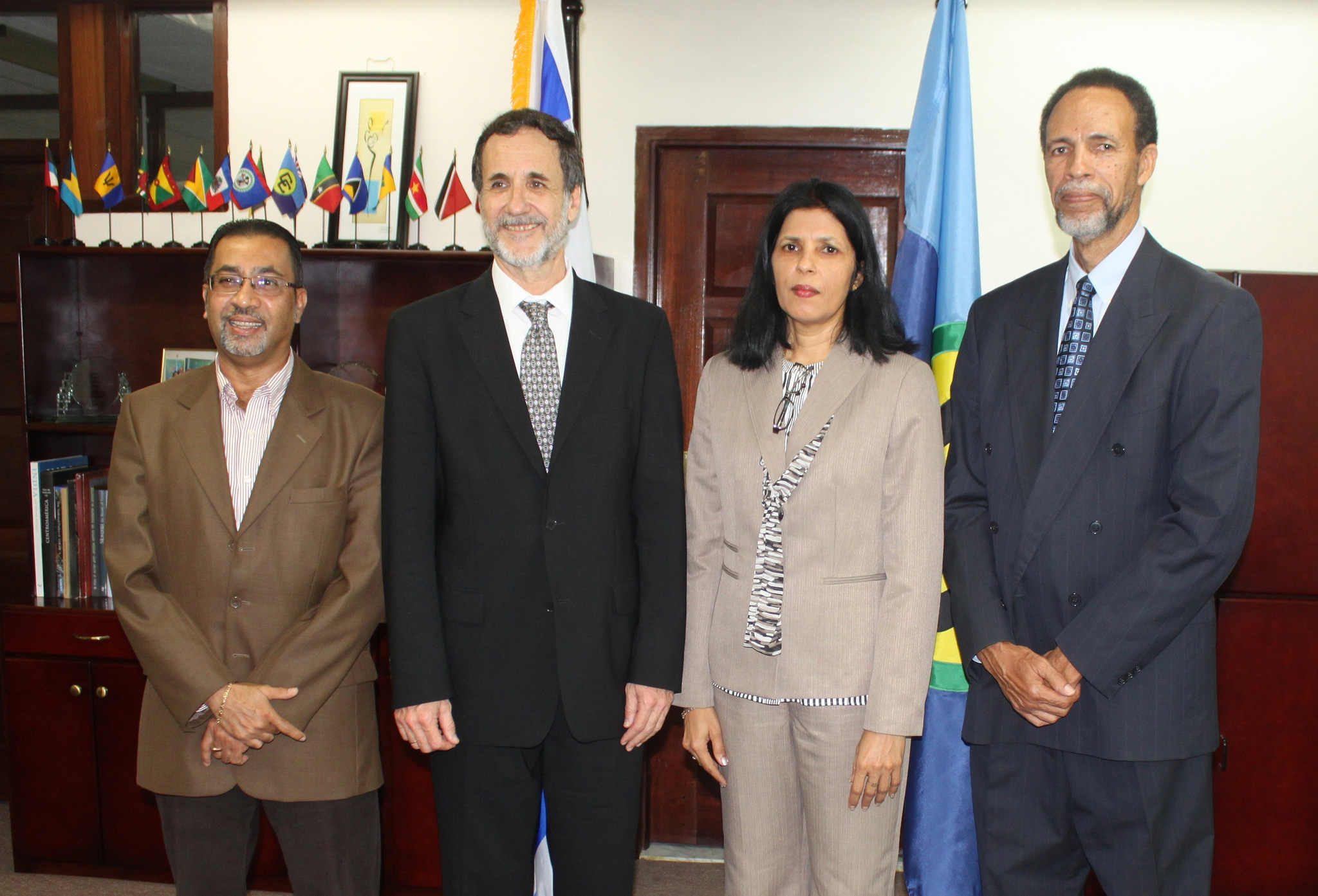 The Plenipotentiary Representative of the State of Israel to the Caribbean Community (CARICOM), His Excellency Mordehai Amihai-Bivas (second from left) presented his Credentials to the Deputy Secretary-General of CARICOM, Ambassador Manorma Soeknanda
