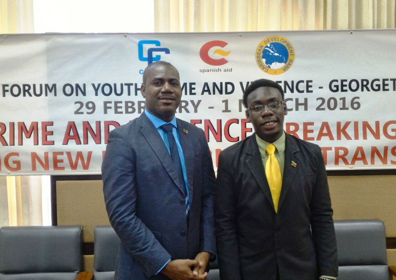 Deputy PM Richards (left) and CYA Dennis McCall Jr. are attending meetings in Guyana