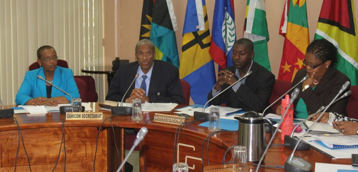 Assistant Secretary General, Human and Social Development at the CARICOM Secretariat Dr. Douglas Slater (second left) makes remarks during the Eighth Meeting of Directors of Youth Affairs. Also pictured are, from left, Director Human Development at C