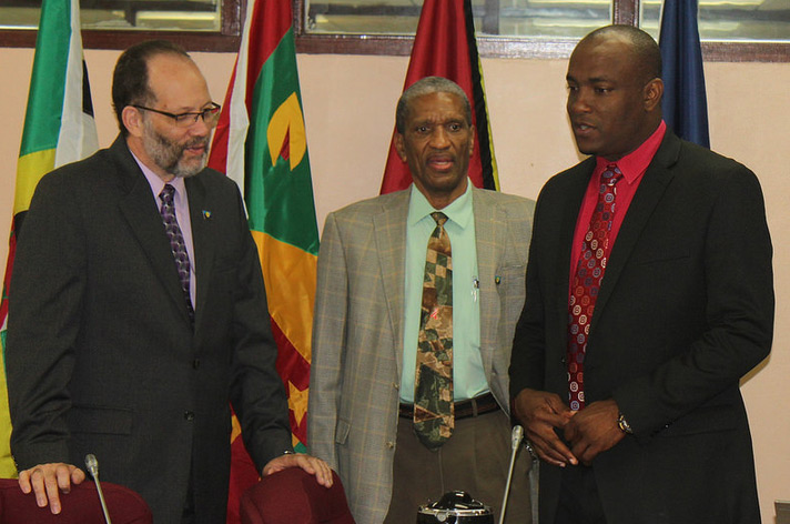 In photo: (L-R) Ambassador Irwin LaRocque, Secretary-General, Caribbean Community (CARICOM); Dr. Douglas Slater, Assistant Secretary-General, Human and Social Development, CARICOM Secretariat; and Hon. Shawn A. Edward, Minister of Youth Development a