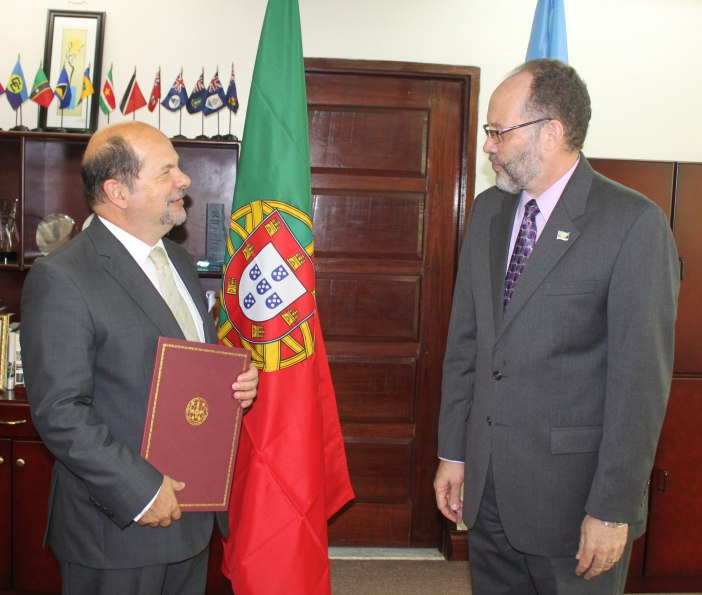 Ambassador of Portugal to CARICOM HE Fernando Teles Fazendeiro and CARICOM Secretary-General, AMbassador Irwin LaRocque during the accreditation ceremony on Friday 4 March, 2016.
