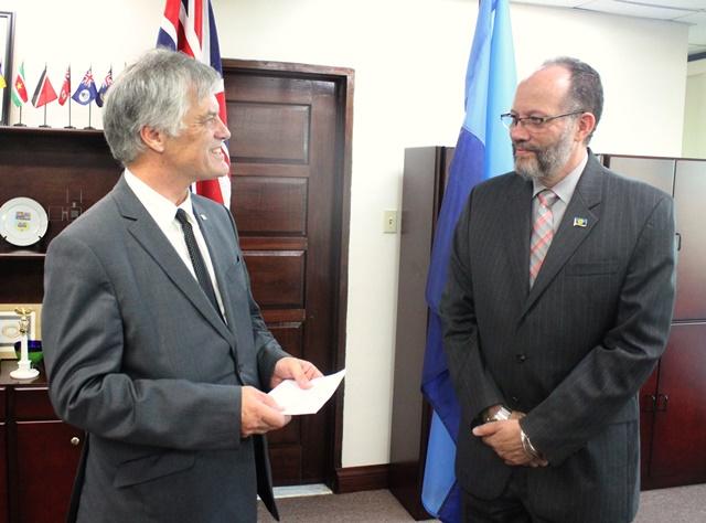 His Excellency John Pilbeam, AUstralian envoy to CARICOM and Ambassador Irwin LaRocque, CARICOM Secretary-General, during the Accreditation Ceremony