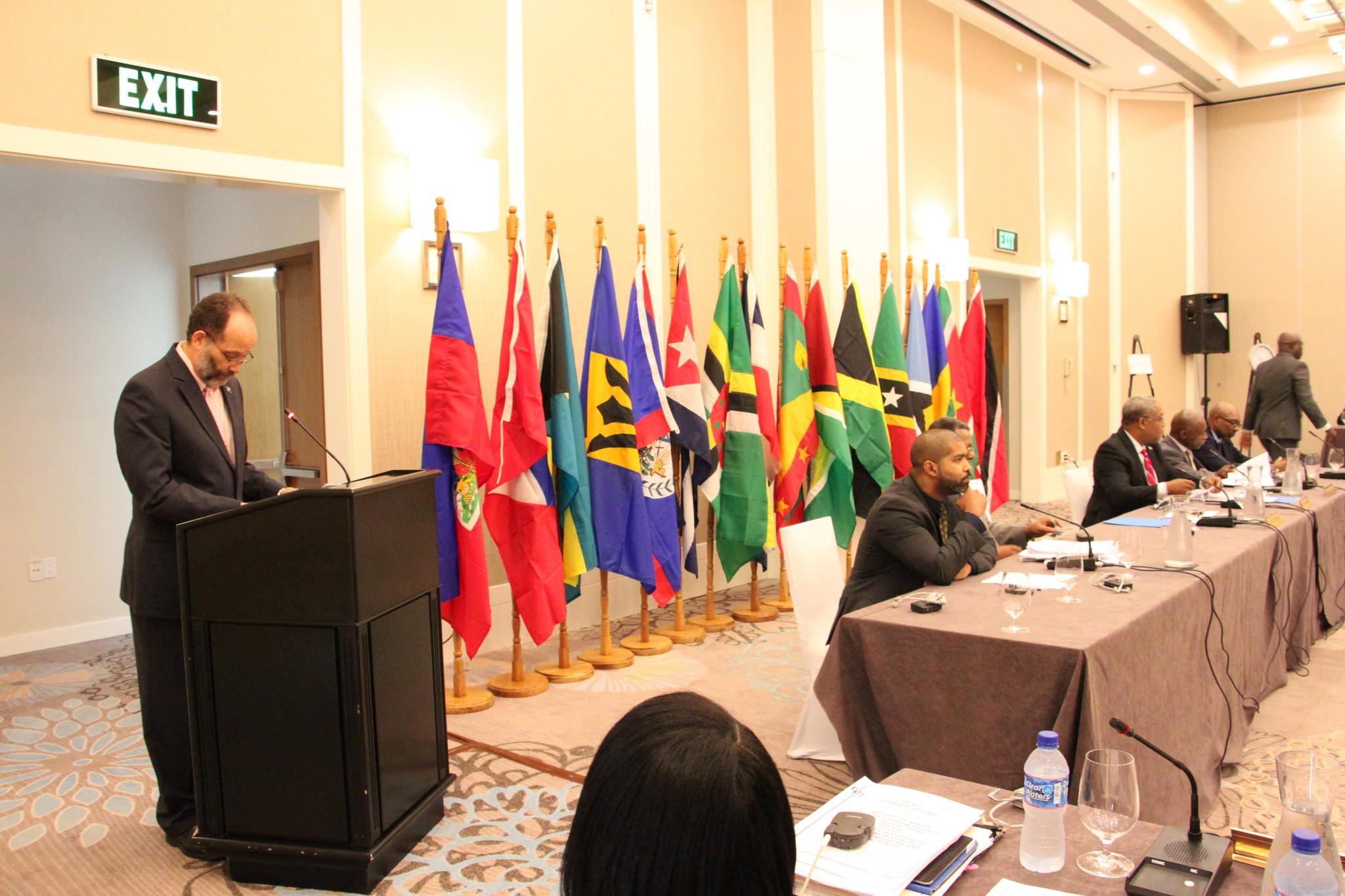 Ambassador Irwin LaRocque, Secretary-General of CARICOM and CARIFORUM, addresses the meeting at the Marriott Hotel, Georgetown, Guyana, 17 March, 2016