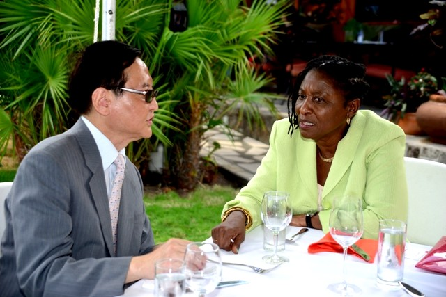 Ambassador Phillip-Browne (right) will lobby for continued support to Caribbean