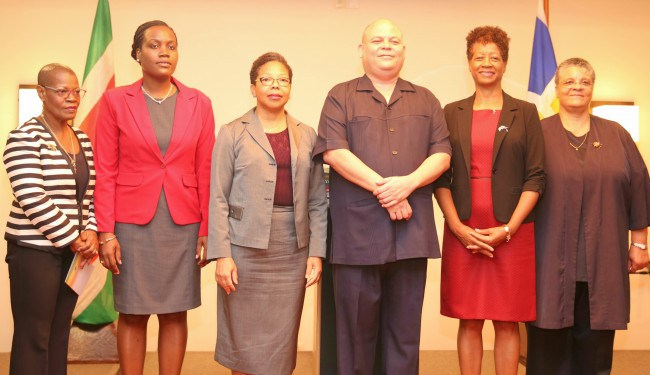 Officials from CDB and the Ministry of Education, Science and Culture, Suriname at the launch of the E-TVET Project. From left to right: Dr. Idamay Denny, Portfolio Manager, CDB; Natasia Bennanon, Permanent Secretary, Ministry of Education, Science a