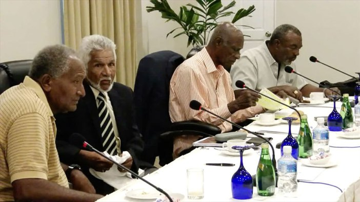 Members of the West Indies Legends panel, including Andy Roberts and Deryck Murray, meet in Grenada (Photo via cricinfo.com)