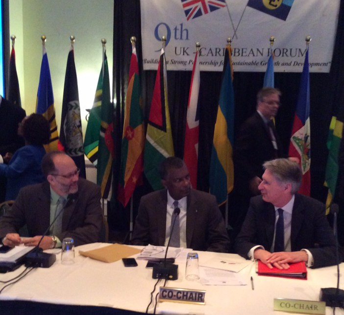 (From left: CARICOM Secretary-General Ambassador Irwin LaRocque; Hon. Fred Mitchell, Minister of Foreign Affairs of The Bahamas; Rt. Hon. Phillip Hammond, Foreign Secretary of the UK, prior to the start of the meeting on Saturday in Freeport, Bahamas