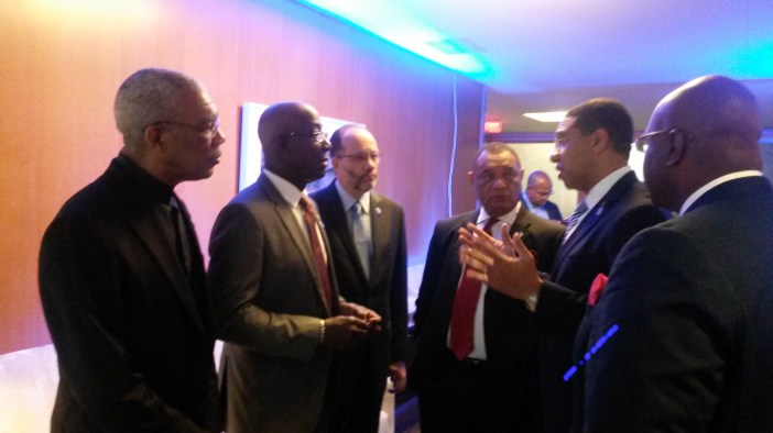 In consultation prior to summit (from left) President of Guyana David Granger; Prime Minister of Trinidad and Tobago Dr. Keith Rowley; CARICOM Secretary-General Ambassador Irwin LaRocque; Prime Minister of The Bahamas Perry Christie; Prime Minister o