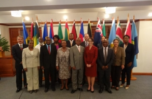 CARICOM Foreign Ministers, other Heads of Delegations and the CARICOM Secretary-General share a group photo at the start of the 19th Meeting of the Council for Foreign and Community Relations (COFCOR), Monday