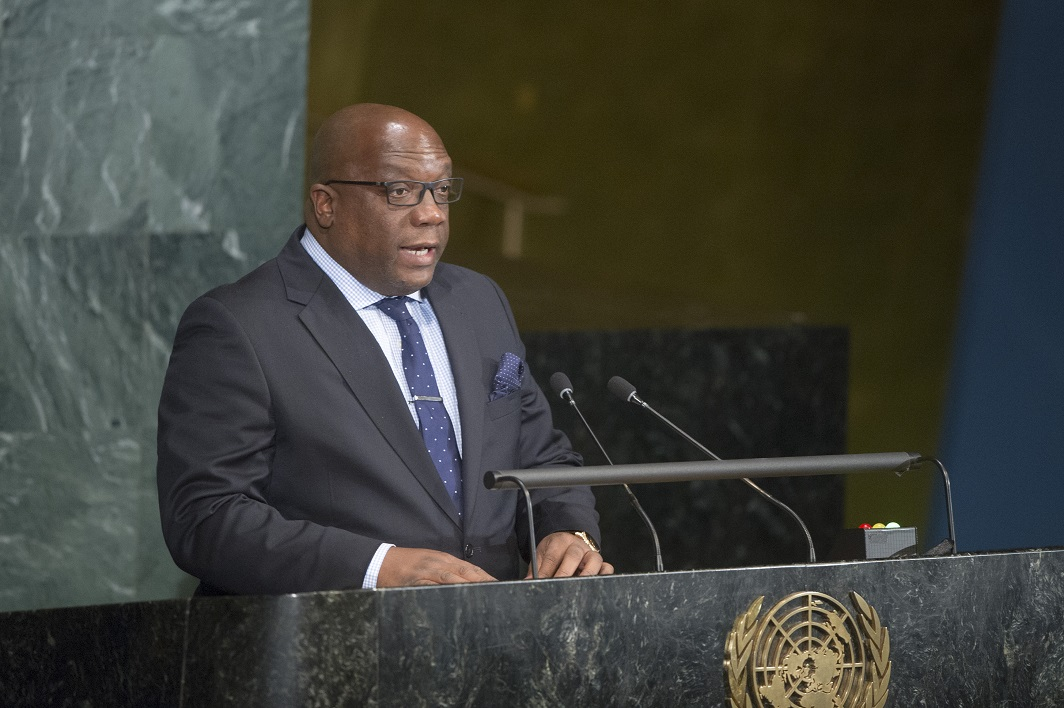rime Minister Harris delivering address at 2016 United Nations General Assembly High-Level Meeting on Ending AIDS