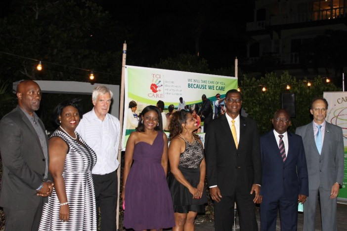 From left: Mr Weseley Clerveaux, PS, Ministry of Health, Hon. Rhondalee Braithwaite-Knowless Attorney General, TCI, His Excellency Governor Peter Beckingham, Dr Shandey Malcolm, TCI THP Coordinator, Dr. Lisa Indar Head, Tourism and Health Programme,
