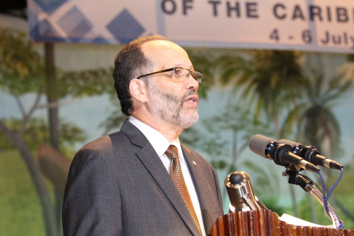 CARICOM Secretary-General, Ambassador Irwin LaRocque addresses the opening ceremony of the 37th Regular CARICOM Heads of Government Meeting Monday evening