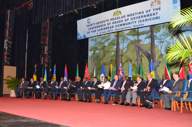 CARICOM Heads of Government, representatives of Heads of Government and Secretary-General at the opening ceremony of the 37th Regular Meeting of the Conference of Heads of Government, 4 July, 2016