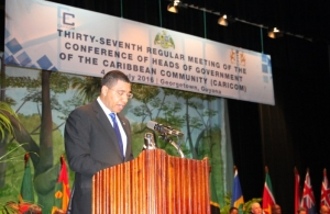 The Most Honourable Andrew Holness, O.N., M.P., Prime Minister of Jamaica delivering remarks