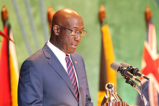 Dr. The Hon. Keith Rowley, delivers his inaugural address at the opening of the 37th meeting of the Conference of CARICOM Heads of Government in Georgetown, Guyana, Monday 4 July 2016