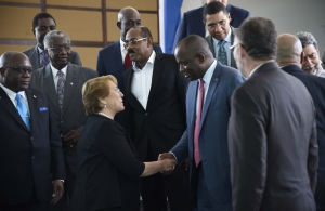 Chile President, Michelle Bachelet greets CARICOM Chairman, Prime Minister of Dominica, Hon. Roosevelt Skerrit